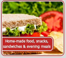 Home-made food, snacks, sandwiches and evening meals